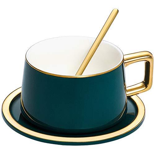 Fighrh China Keramik Teetasse Kaffeetasse Set Mit Untertasse Europäischen Kreative Pull Blume Kaffeetasse Dish Set Keramik Tasse Männer Und Frauen Becher Mit Löffel Teetasse Mit Geschenkbox