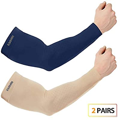 KMMIN Arm Sleeves UV Protection for Driving Cycling Golf Basketball Warmer Cooling UPF 50 Sunblock Protective Gloves for Men Women Adults Covering Tattoos, Navy/Beige