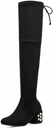 Bottes Bottes Cuissardes Stovepipe Stretch Bottes 6 cm Perle Décoration Chunkly Heel Knight Bottes Femmes Bout Carré Daim Bowknot Lace-up Robe Bottes Eu Taille 34-40  coloris étonnants