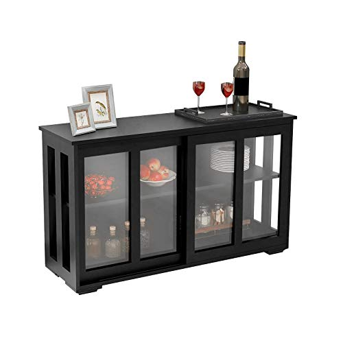 Henf Kitchen Storage Cabinet Sideboard with Glass Door, Buffet Storage Stand Cupboard with 2 Sliding Glass Doors and Adjustable Shelves Open Shelf for Kitchen Dining Living Room, Black