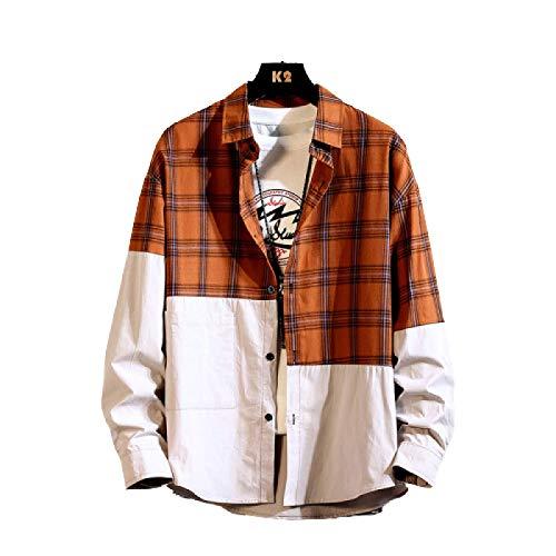 Camisa para Hombre Primavera Juvenil Moda Personalidad Costura Camisa a Cuadros Temperamento de Moda Casual Camisa de Solapa Suelta Chaqueta XXL