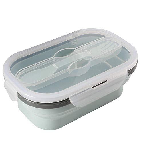 Hahuha Tragbares Falten, Tragbare Lebensmittelkühler Behälter Lagerung Picknick Silikon Falten Lunchbox mit Löffel, Lunch Bag Dekoartikel Wohnaccessoires Accessoires