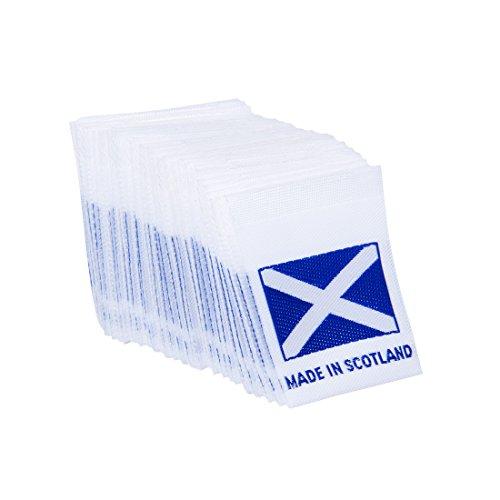 W&erlabel Schottland-Flagge, zum Basteln, Kunst, Mode, klassische gewebte Bänder, Etiketten, Etikett, Kleidung, zum Aufnähen, Stoff, bestickt, Blau auf Weiß, 50 Etiketten