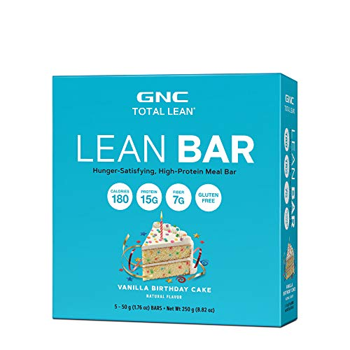 GNC Total Lean Lean Bar - Vanilla Birthday Cake, 5 Bars, Supports a Healthy Metabolism