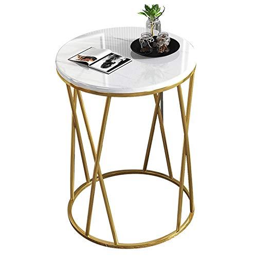GLYYR Mesita de noche con patrón de mármol, mesa de café de lujo sofá esquinera mesita de noche dormitorio pequeña mesa redonda mesitas auxiliares muebles sala de estar pasillo baño blanco