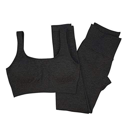 Mayround Yoga Outfits Workout Sets für Frauen 2 Stück gerippt nahtlos Yoga Outfits Sport BH und Leggings Set Trainingsanzüge 2 Stück (Dunkelgrau, Large)