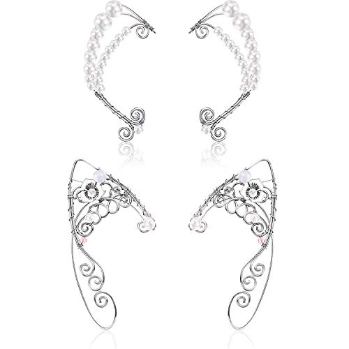 2 Pairs Elf Ear Cuffs Pearl Wing Handcraft for Cosplay Elven Cuff Wrap Earrings