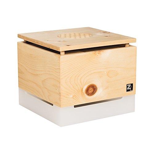 ZirbenLüfter ® Cube Salzburg Pure für ca. 40 m2 | Luftbefeuchter | Luftreiniger aus Zirbenholz | der Verdunsterbehälter (1 Liter) ist transluszent | Abdeckplatte aus Zirbenholz mit Blume des Lebens