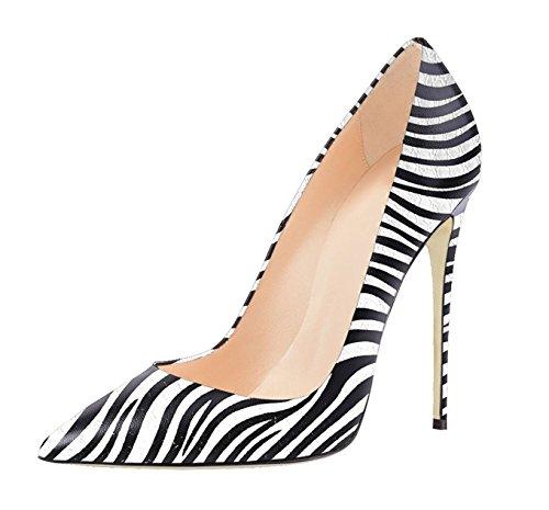 Soireelady Damen Geschlossener Spitze Pumps 120mm Elegant High Heels Zebra 36