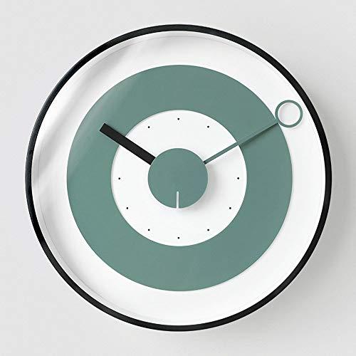 W.Z.H.H.H Reloj de Pared Sala de Estar Reloj de Pared de la Pared del Reloj de Moda nórdica Idílico Tabla 30cm * 30cm * 5.1CM (Color : Verde)