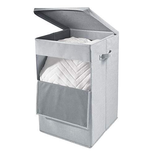 iDesign 07513EU Codi Panier à Linge à poignées, Grande boîte de Rangement à Couvercle en Polyester, Gris, 31,8 cm x 35,6 cm x 55,9 cm