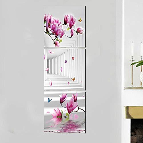 woplmh Flor Rosa Cuadrado Vertical Moderno Lienzo Pintura Arte Rural Imprime-3decoración para el hogar imágenes de Pared para Pasillo Pasillo dormitorio-50X50cmX3pcs Sin Marco