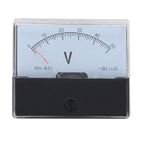 sourcing map DH-670 DC 0-50 V voltios tensión analógica rectangular aguja Voltímetro Medidor panel