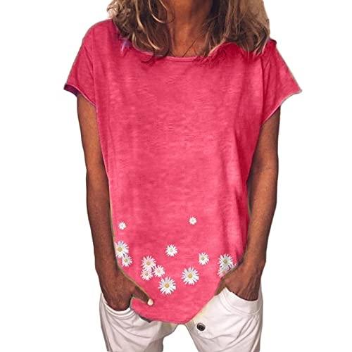 Camiseta de Manga Corta con Cuello Redondo y Estampado de Flores de Moda Vintage para Mujer, Blusa Informal de Talla Grande de Verano con Ajuste clásico, Camiseta de Todo fósforo 4XL