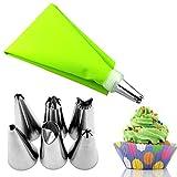 8pcs / set kit en forma de polvo de acero inoxidable, tubos de montaje de la boquilla, la crema y nata del embrague bolsa bolsa de pastelería natillas, herramienta adicional para pasteles dulces