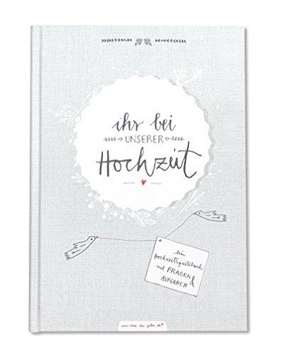 Hochzeitsgästebuch mit Fragen - Ihr bei unserer Hochzeit, Gästebuch Hochzeit mit 96 Seiten für Hochzeitsgäste & Brautpaar, 17x24,5 cm, Grau Weiß, Hardcover, stabil, Hochzeitsbuch