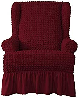 skyfiree 1 Piece Stretch Easy Fitted Wingback Chair Cover Seersucker Armchair Cover with Skirt High Elastic Wing Chair Sli...