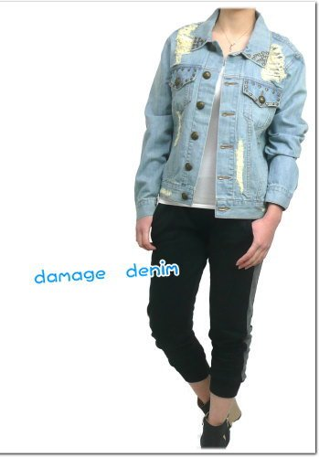 『AnkRouge(アンクルージュ)Gジャンダメージ加工&ハートドット仕様デニムジャケット』の4枚目の画像