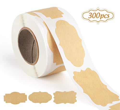 ilauke 300 Stück Selbstklebend Kraftpapier Sticker, Kraft Selbstgemacht Etiketten Sticker für Küche, Haushalt, Geschenkverpackung, Gewürzdosen, Glasflaschen Scrapbooking, Aufbewahrungsdosen