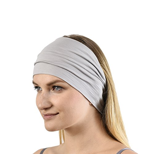 Jasmine Silk Unisex Bamboo Headband Hair Band Grey