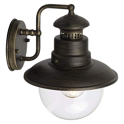 Brilliant Artu Wandleuchte für den Außenbereich 26cm hoch in schwarz / gold 96128/86 | Außenleuchte Regen- und Spritzwasser geschützt nach IP 44 |Für LED Leuchtmittel geeignet | dimmbar
