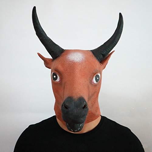 BWNWPH Máscara de Halloween/Máscara de látex Sombrero de Vaca Anime de Dibujos...