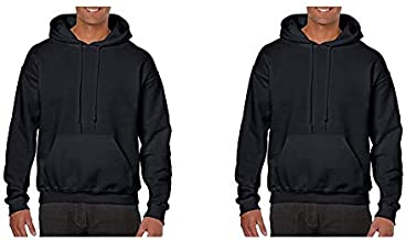 Gildan Men's Heavy Blend Fleece Hooded Sweatshirt G18500, Black, Medium and Gildan Men's Heavy Blend Fleece Hooded Sweatshirt G18500, Black, X-Large