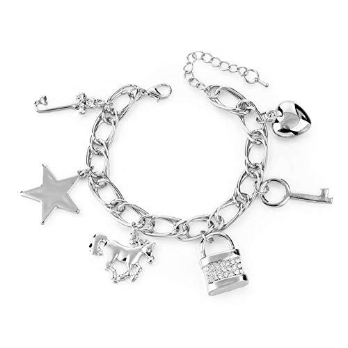 HMKLN Encanto Blanco Perla búho Pulseras y brazaletes para Las Mujeres Joyas de Oro de Cristal de Acero Inoxidable Pulsera Ajustable