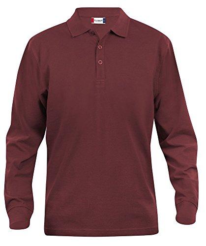 Clique Clothing–Polo de manga larga para hombre camisa, algodón, corte clásico, peso medio, 11colores, XS-5X L Rojo granate Small