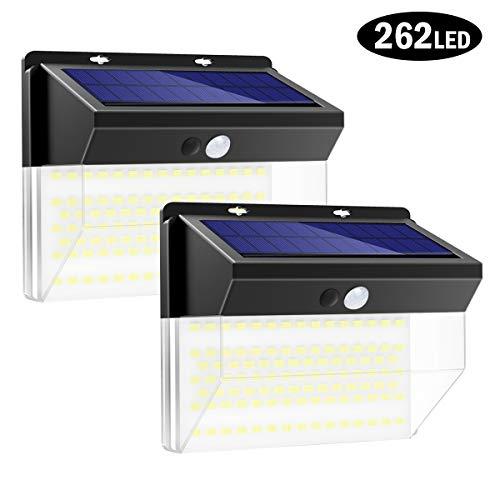 Luz Solar Exterior 262LED, T-SUN Foco Solar Exterior con Sensor de Movimiento Lámpara Solar Impermeable Gran Ángulo 270º de Iluminación Luces Solares Jardí y 3 Modos Inteligentes 2-Paquete