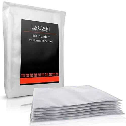 LACARI Kitchen & More Premium Vakuumierbeutel – [100x] Vakuumbeutel für Lebensmittel – [16]x[23] cm – 100% BPA frei – Herstellung in Deutschland