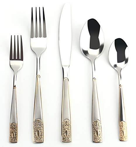 Tebery 40 Piece Stainless Steel Flatware Set Service for 8 People Knives, Tablespoons, Teaspoons, Forks, Dessert Forks, European Style