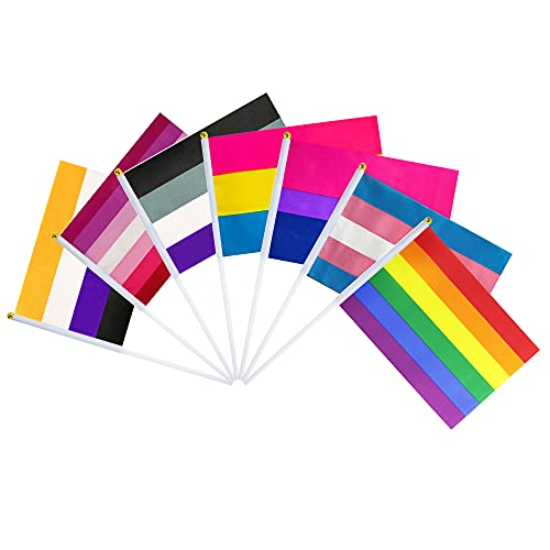 Consummate Rainbow Pride Flag Set Small Mini Gay Stick Flags LGBT Party Decorations,70 Pack