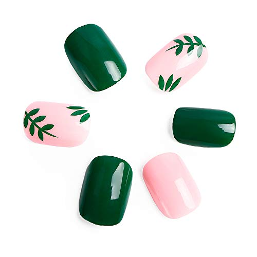 24pcs Fake Nails Kit Fresh Solid Pink Green Leaves Square Short Full Cover Nail Tips