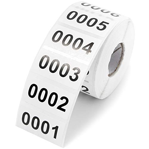 Juvale Inventory Label Stickers, Consecutive Numbers (1000 Count)