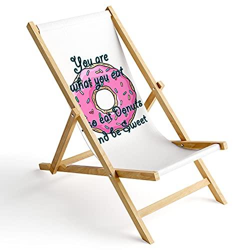 Ferocity Tumbona de Madera Plegable, Silla de Playa con Funda Intercambiable, diseño Donut You Are What You Eat 1 [119]