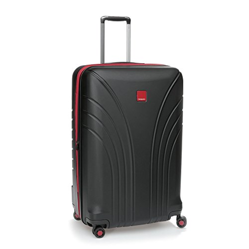 Hedgren Take Off Flight 28' Hard Sided Expandable Spinner Suitcase, Rolling Luggage with Lock and Zippered Mesh Pockets, 30 x 13.3 x 19.2 Inches, Unisex, Black/Red Combo