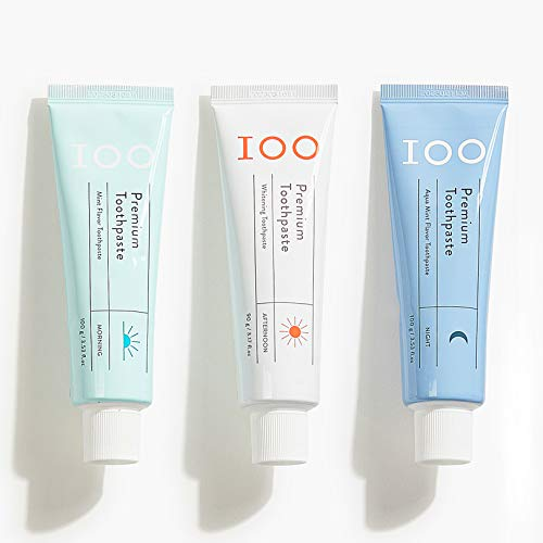 100 Natural Toothpaste, Morning, Afternoon, Night Specified Vegan Toothpaste, Whitening, Antiplaque, Hydroxyapatite for Remineralizing, Dentists Recommended, 3-Pack Set