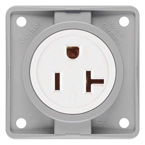 Hager INTEGRO stopcontact stroom Usa/Canada Nema 6 – 20R grijs mat