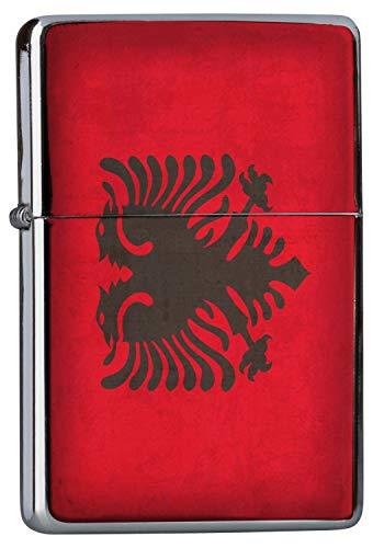 Chrom Sturm Feuerzeug Benzinfeuerzeug aus Metall Aufladbar Winddicht für Küche Grill Zigaretten Kerzen Bedruckt Urlaub Reisebüro Albanien Flagge