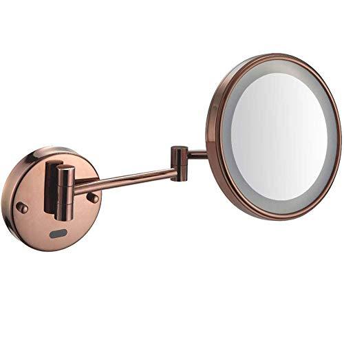 HGXC Espejos de baño Espejo de Maquillaje Espejo Iluminado LED montado en la Pared Espejo con Sensor de Aumento 5X