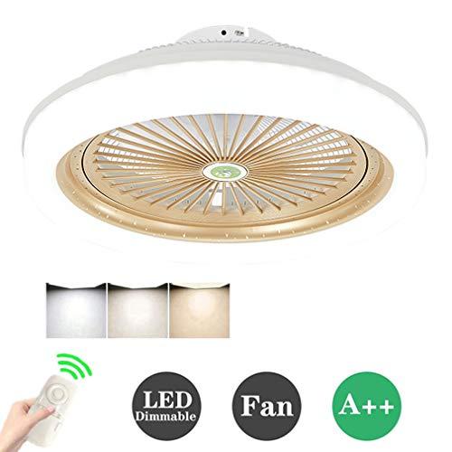 HKLY Ventilador de Techo LED Lámpara, Creative 80W Regulable Ventilador de Techo Invisible Luz de Techo Control Remoto Tiempo Ventilador Luz para Sala De Estar Dormitorio Habitación Infantil, 80W,Oro