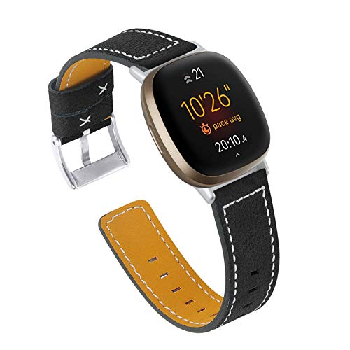 XIALEY Correas Compatible con Fitbit Versa 3 / Sense, Correa De Repuesto De Cuero Genuino Compatible con Versa 3 / Sense, Correa De Reloj De Pulsera De Cuero Suave para Hombre Y Mujer,Negro