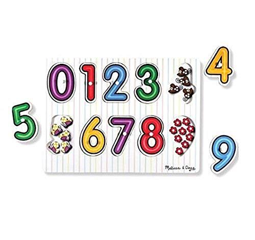Melissa & Doug - 13273 - Puzzle À Boutons En Bois - Nombre Sous Les Chiffres