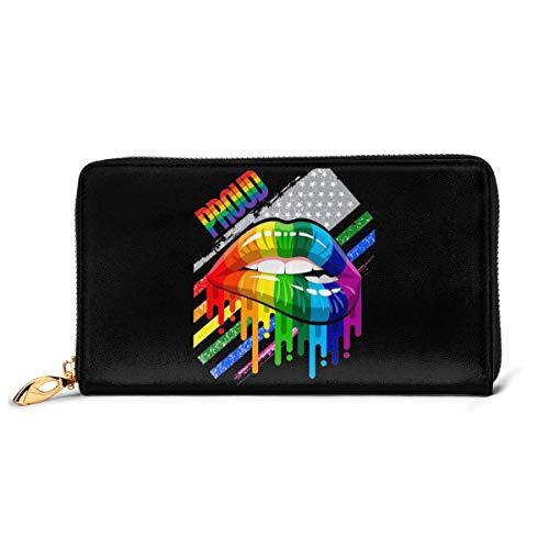 Lesbian Rainbow Lips Pride Womens Genuine Leather Wallet Zip Around Wallet Clutch Wallet Coin Purse