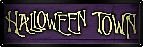 Halloween Town Tin Sign Home Decor 6x16 inch