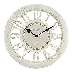 Equity by La Crosse 20857 11.5 Delaney Floating Dial Quartz Clock, Antique White