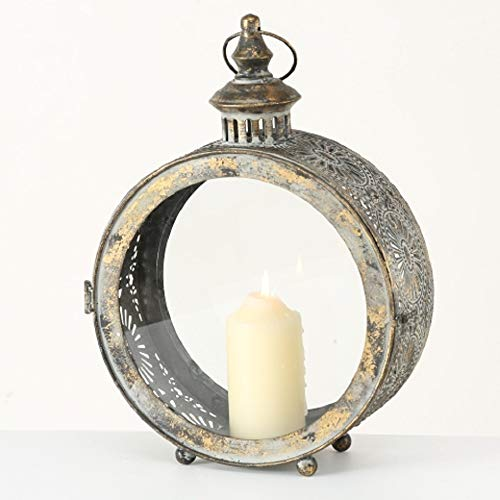 Home Collection Metall Windlicht Laterne antikgold grünbraun D40cm