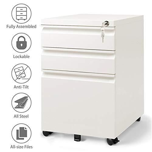 DEVAISE Metall Rollcontainer, Aktenschränke, Büro-Rollcontainer, Bürocontainer mit 3 Schublade für A4; Mobilen, Abschließbar, 60cm H, Weiß