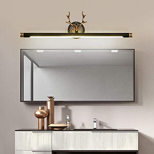 Yanqing LED-spiegel voor badkamer, wastafel, zwart, goudkleurig, 57 x 17 cm